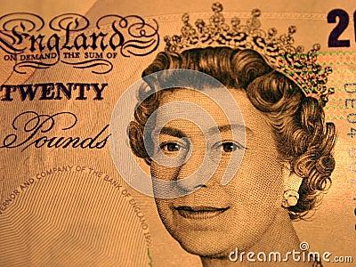 20 libbre. Ritratto della regina