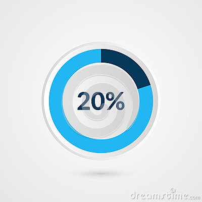 Free 20 Percent Blue Grey And White Pie Chart. Percentage Vector Infographics. Circle Diagram Business Illustration Stock Image - 88423161