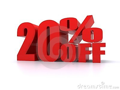 20  Percent off promotional sign