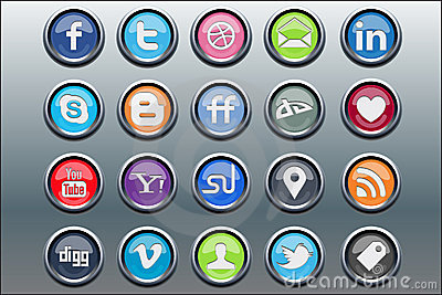 20 silver inset social media icons Editorial Photography
