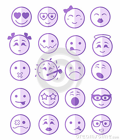 Free 20 Smiles Icons Set Child Purple Half Stock Photos - 57819873