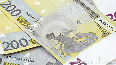 200 euro banknotes background