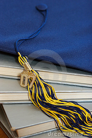 2007 Graduation cap and books