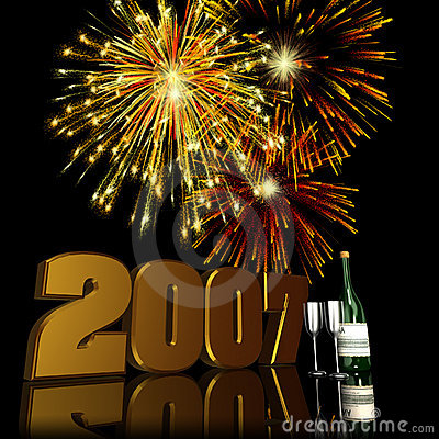 Free 2007 New Year Fireworks 2 Royalty Free Stock Image - 1439166