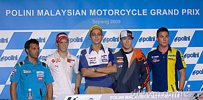 2008 5 Motogp riders  at press conference. Editorial Photography