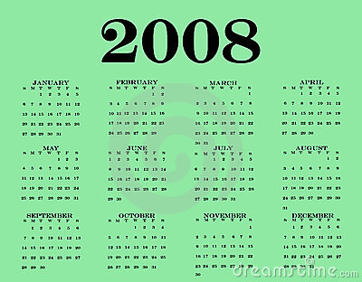 2008 Calendar Royalty Free Stock Photo Image 3994385