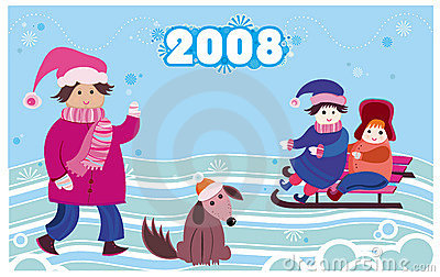 2008 new year card with kids