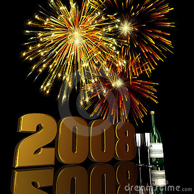 Free 2008 New Year Fireworks Royalty Free Stock Photo - 3762295