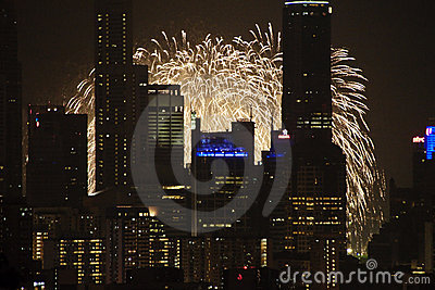 2009年都市风景烟花ndp预览 图库摄影片