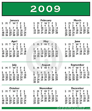 Free 2009 Calendar Full Year Royalty Free Stock Photography - 4538307
