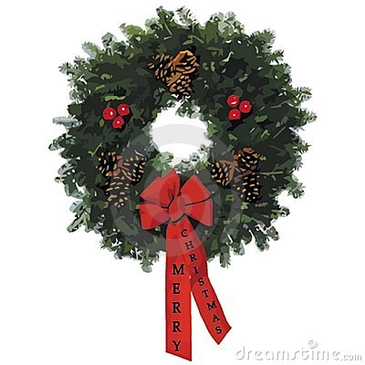 2009 christmas wreath with text on ribbons