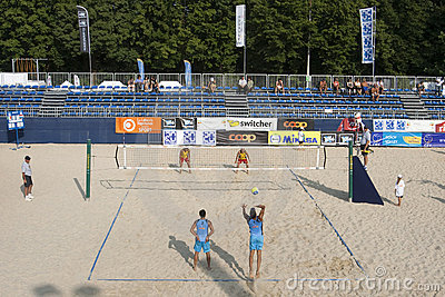 2009 FIVB CEV Lausanne Beach Volley Tournament Editorial Stock Image