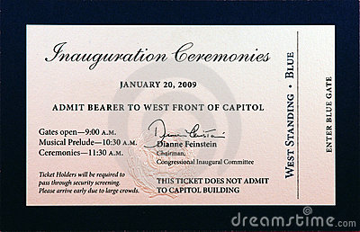 2009 Inauguration Ceremonies Ticket Editorial Stock Photo