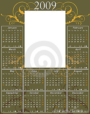 Free 2009 Swirl Calendar Royalty Free Stock Photography - 6192107