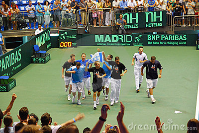 2009 Tennis Davis cup - Israeli team celebration Editorial Image