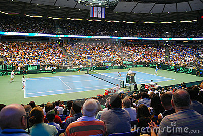 2009 Tennis Davis cup - Israeli team serve Editorial Stock Image