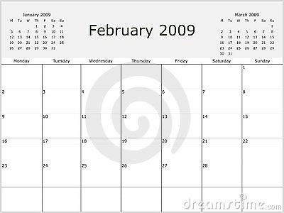 images of 2009 year monthly calendar with previous and next months start of wallpaper
