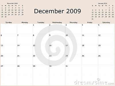 2009 Year Monthly calendar