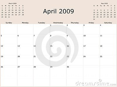 2009 Year Monthly calendar