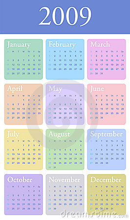 2009 yearly Calendar in pastel