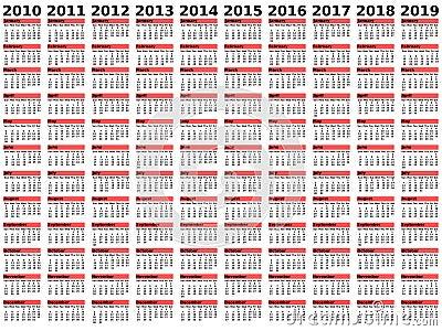 2010-2019 Decade Calendar