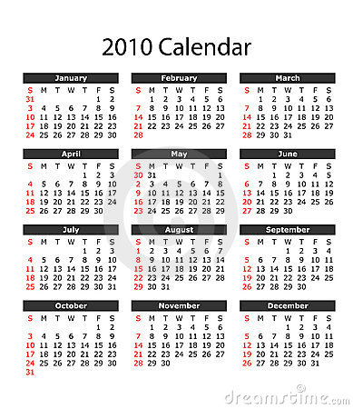2010 Calendar with Vector File