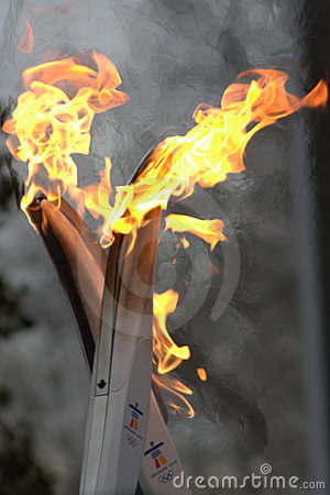 2010 Olympic Torch Run - Flame Hand Off Editorial Photo