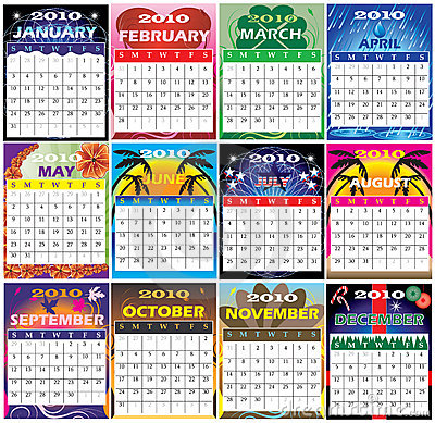 Free 2010 Set Of 12 Themed Calendars Stock Image - 11904461