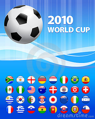 2010 Soccer World Cup with Flag Buttons Editorial Photography