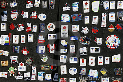 2010 Vancouver Olympics Collector Pins Editorial Stock Photo