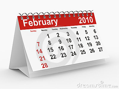 2010 year calendar. February