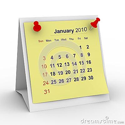 2010 year calendar. January