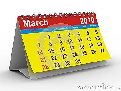 2010 year calendar. March