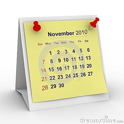 2010 year calendar. November