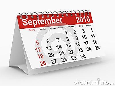 2010 year calendar. September
