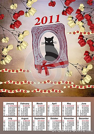 2011 calendar with a black cat
