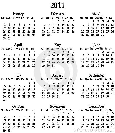Template For Calendar 2011 Royalty Free Stock Photo - Image: 15560045