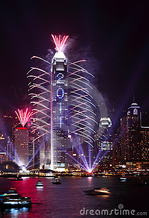 2011 Countdown Fireworks Show in Hong Kong Editorial Stock Photo