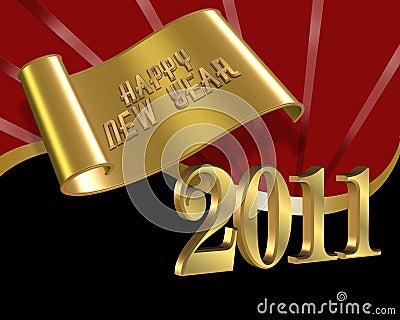 2011 czarny wigilii szczęśliwy nowy czerwony rok