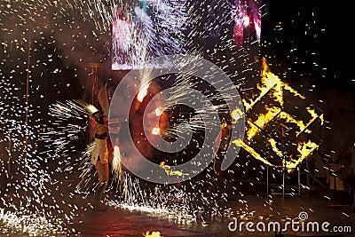 2011 fest пожар kiev Редакционное Стоковое Изображение