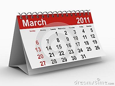 2011 year calendar. March