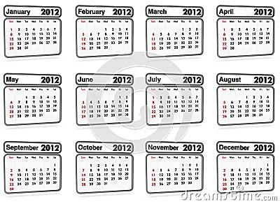 2012所有日历月份 免版税库存图片图片