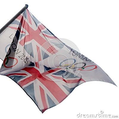 2012 игры london флага олимпийский Редакционное Изображение