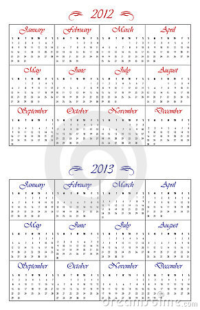 2012 and 2013 calendars