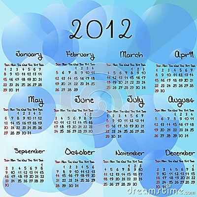 2012 aqua calendar
