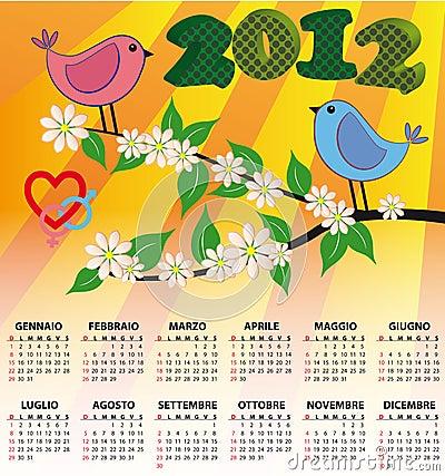 2012 bird calendar italian