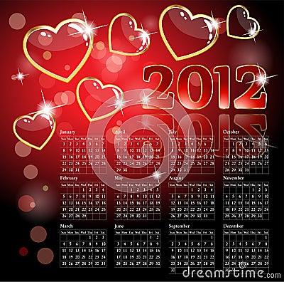 2012 calendar with hearts