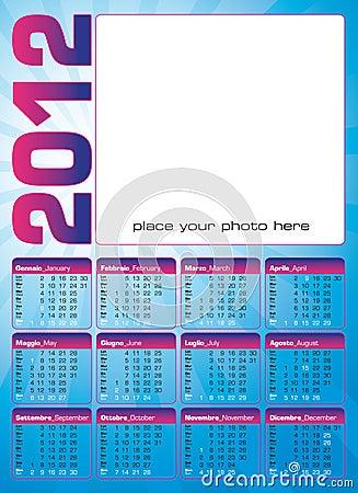 2012 calendar italian and english