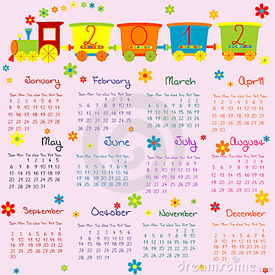 2012 Calendar for kids with cartoon train
