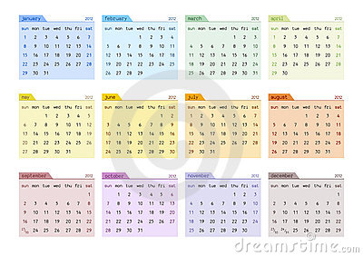 2012 Calendar Starting Sunday (english)